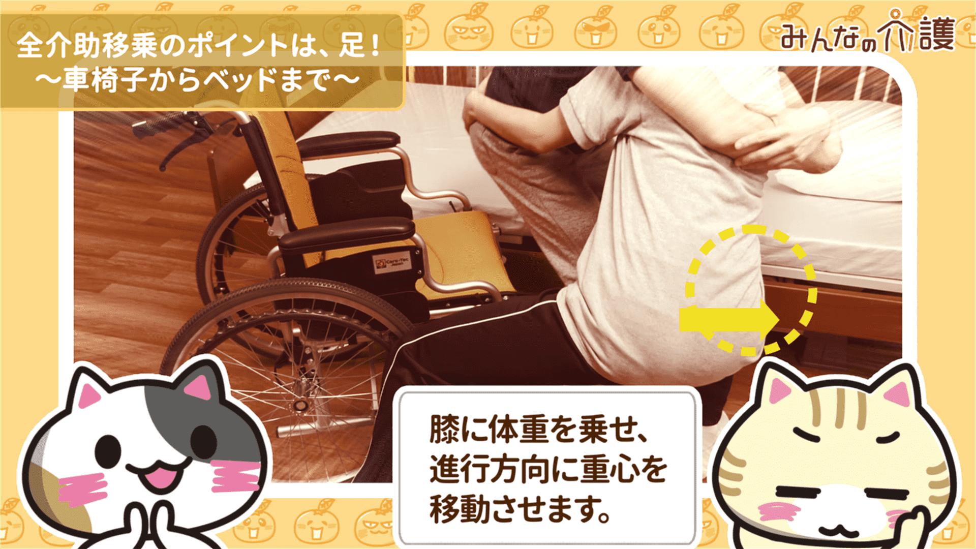 膝に体重を乗せて重心を移動させるイメージ