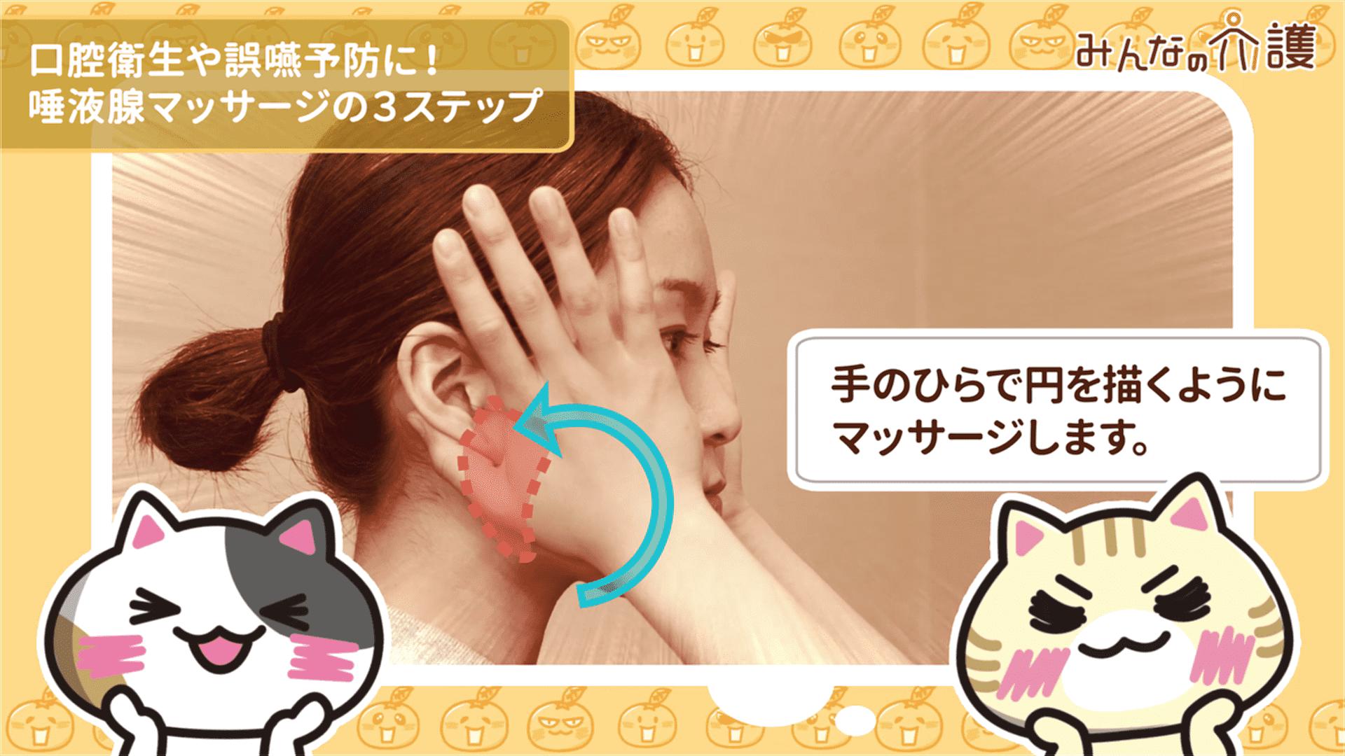 耳下腺マッサージの様子